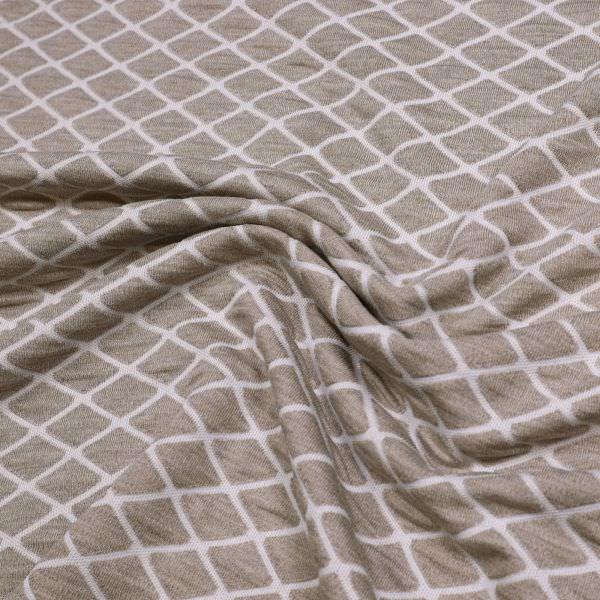 Doppelgewebe Jersey Raute - taupe/weiss Extra breit !