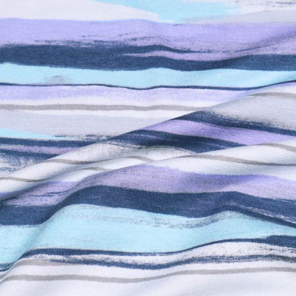 Viskosejersey Pinsel Streifen - wollweiss/flieder/mintgrün/marineblau/grau (Reststück 3,3m)