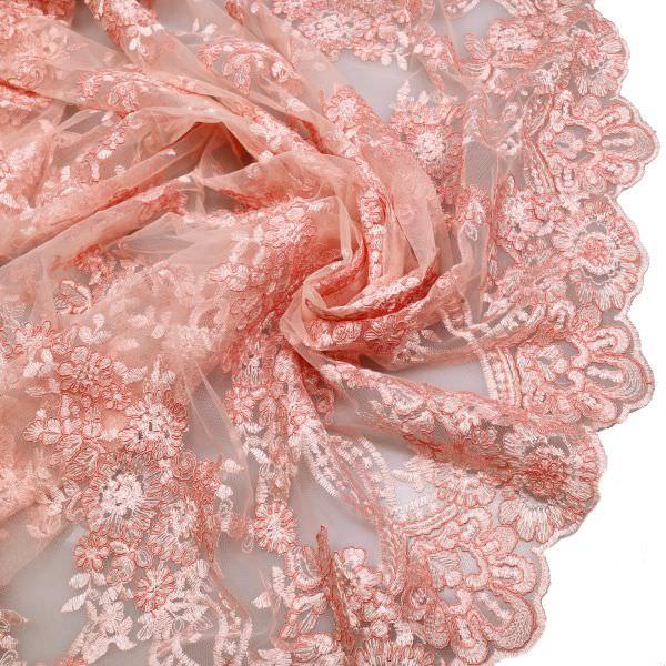 Bogen Tüll- Spitze mit Blumen Stickerei Melange - rosé/altrosa