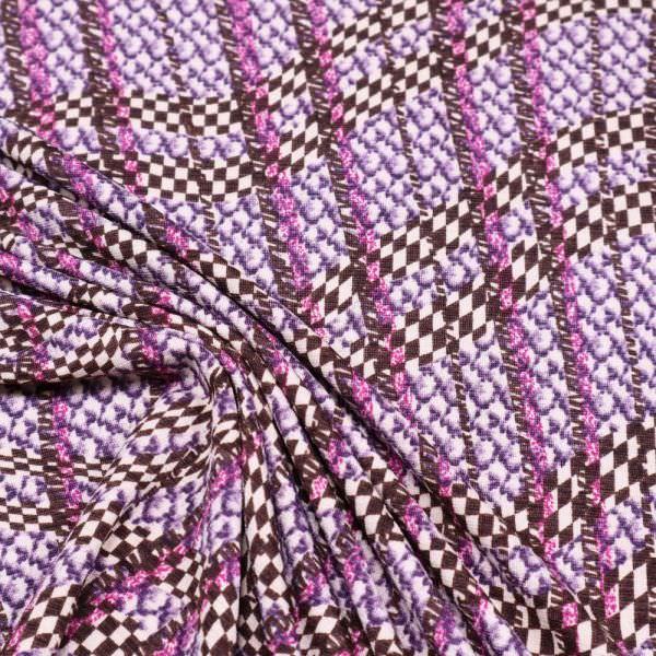 Viskose-Polyester-Mix Jersey Linien - beige/braun/violett