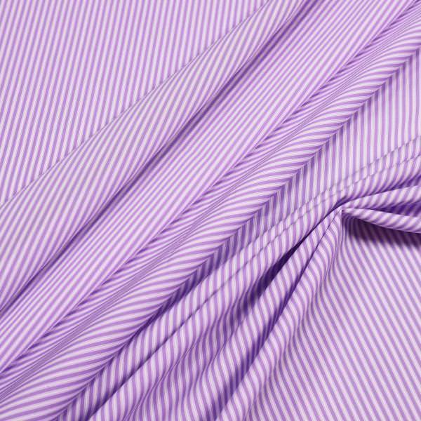 Baumwolle-Polyester Mix Popeline Streifen - flieder/weiss