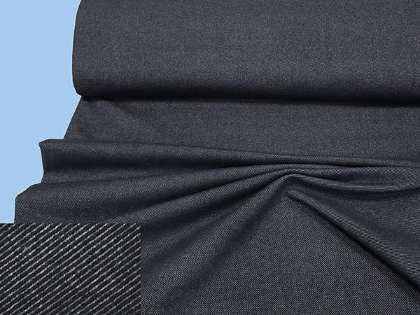 Wollstoff-Mix diagonal Streifen - dunkelblau/grau (Reststück - 5,7m)