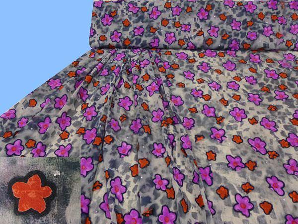 Chiffon mit Blumen- Applikation - grau/anthrazit/schwarz/fuchsia/violett/terrakotta/silber