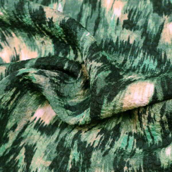 Blusen- und Kleiderstoff - grün/beige/wollweiss