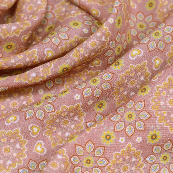 Viskose Crêpe Mandala Blumen - altrosa/gelb/terrakotta/türkis/wollweiss