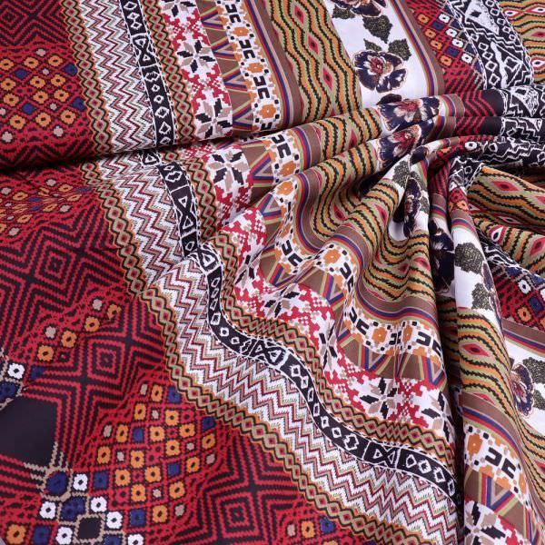 Baumwolle-Viskose-Mix mit Ethno-Muster - weiss/rot/terrakotta/dunkelblau/schwarz
