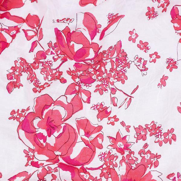 """Baumwoll- Voilé """"Blumen"""" - weiss/koralle/fuchsia"""