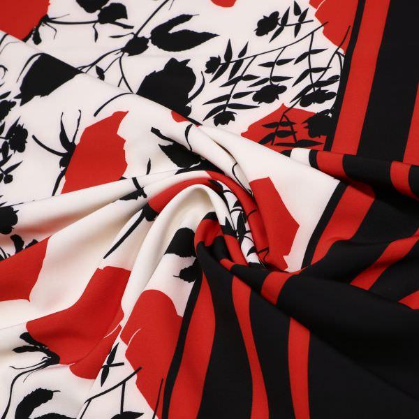 Power-Stretch Kleiderstoff Rosen & Bordüre - creme/rot/schwarz