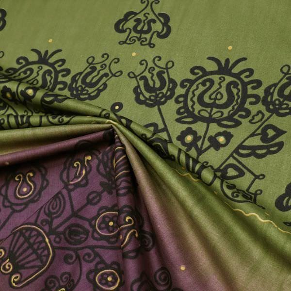 Baumwollstoff Africanstyle PANEL - brombeere/olivgrün/gelb/schwarz