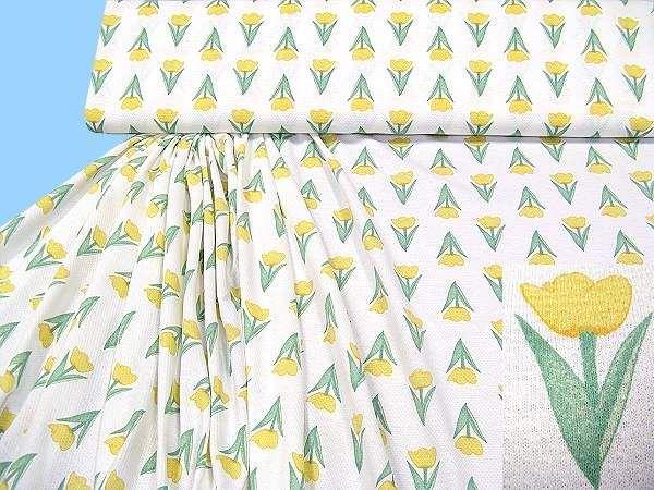Pikee- Jersey mit Blumen - wollweiss/gelb/grün