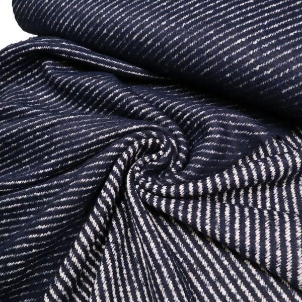 Bouclé diagonal Streifen - dunkelblau/wollweiss