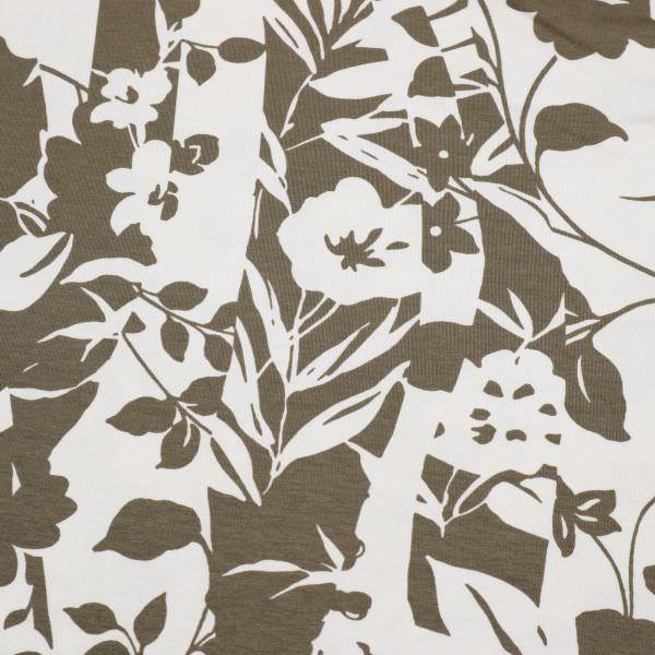 Viskosejersey mit Blumen-Motiv - wollweiss/taupe