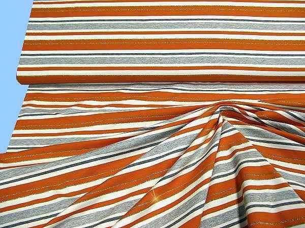 Viskosejersey mit Streifen&Lurex - wollweiss/grau/orange/gold