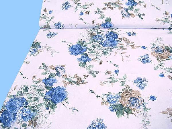 Baumwolljersey mit Blumenmuster - weiss/blau/dunkelblau/braun/schilfgrün