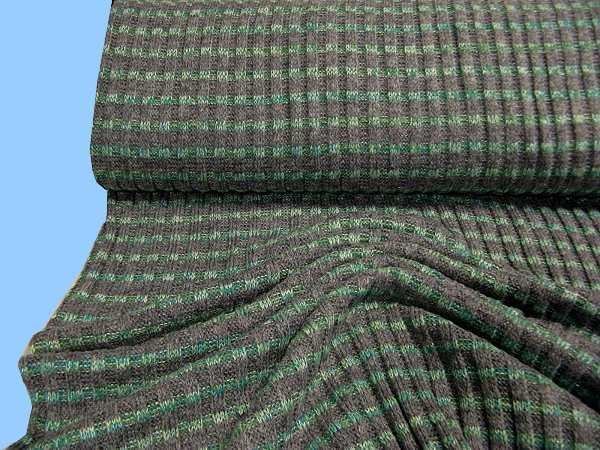 Rippenstrick mit Lurex - grau/grün/silber