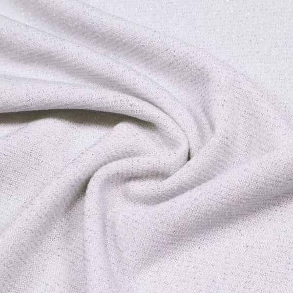 Lurex Feinstrick Querstreifen - weiss/silber