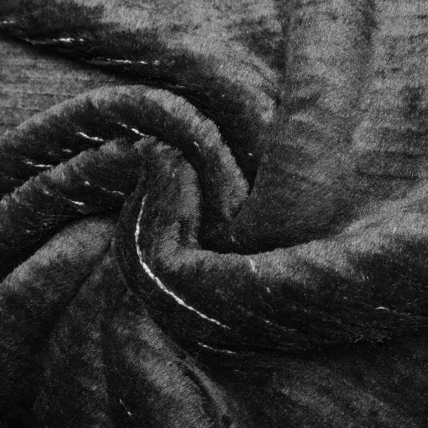 Plüsch Strieckstoff Querstreifen & Lurex - schwarz/wollweiss/silber