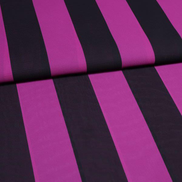 Chiffon mit Streifen - schwarz/violett