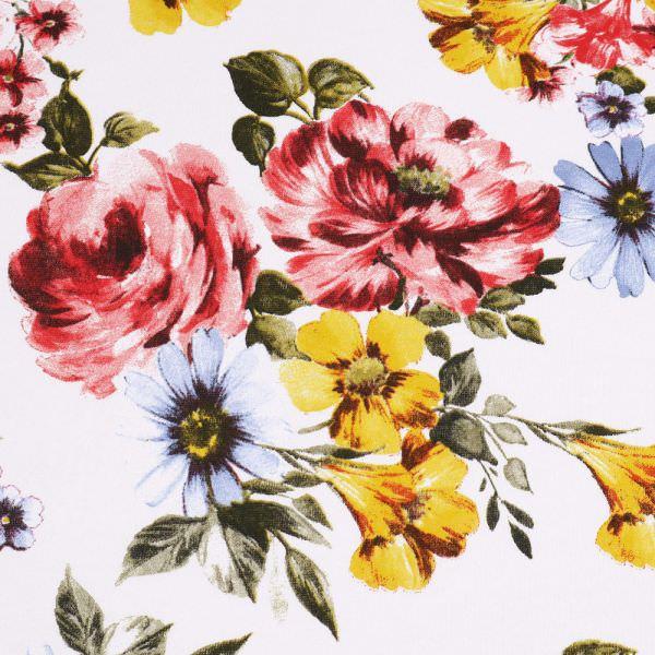 Sweatshirt Stoff Bunte Blumen - weiss/gelb/rot/hellblau/olivgrün Extra breit !