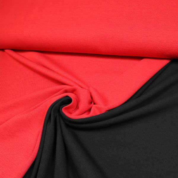 Doubleface Baumwoll- Feinstrick uni - rot/schwarz