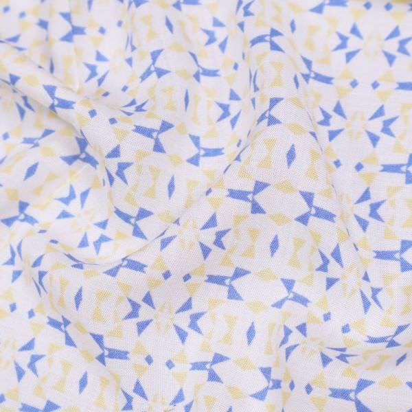Viskosestoff kleines Muster - wollweiss/hellblau/gelb