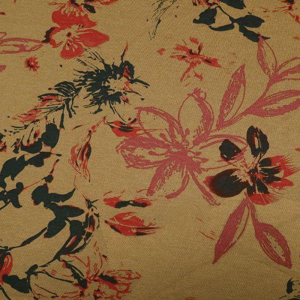 Powerstretch Jersey mit Blumen - rehbraun/rot/himbeere/dunkelbraun