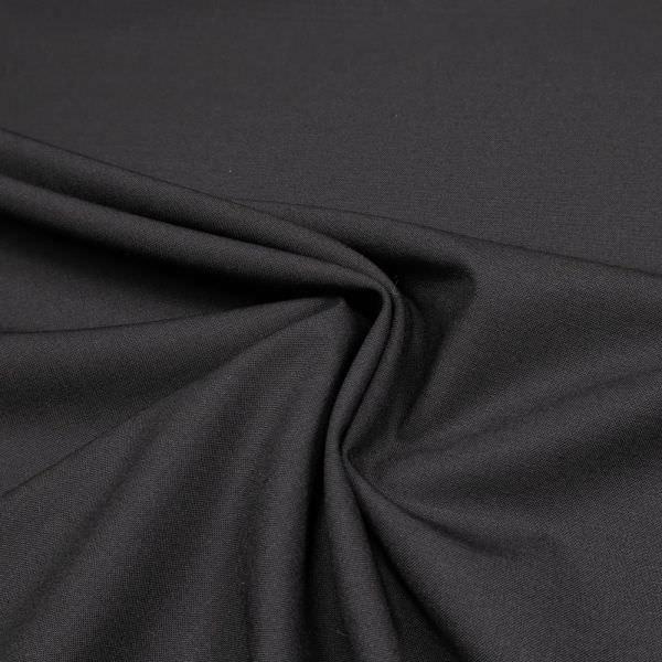 Stretch Wolle-Baumwolle-Mix uni - schwarz