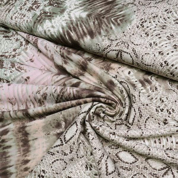 Power-Stretch Jersey mit Schlangen-Muster - wollweiss/rosé/schilfgrün/braun