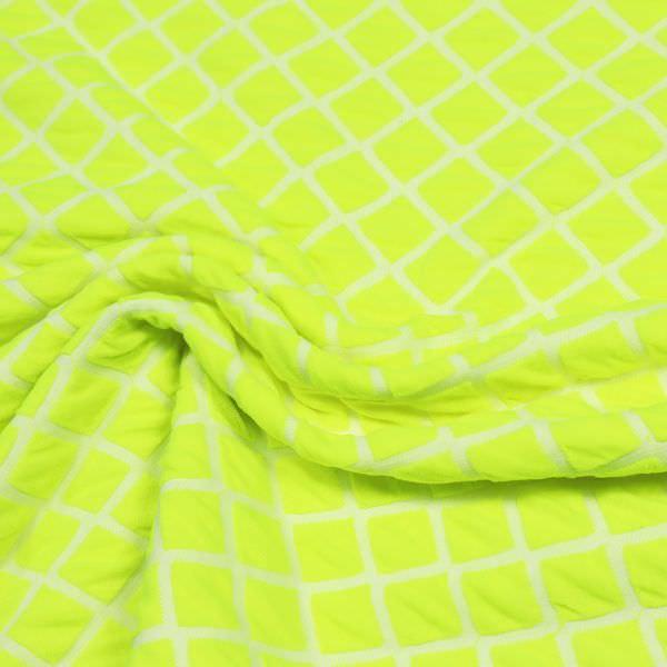 Doppelgewebe Jersey Neon Raute - neon gelb/weiss Extra breit !