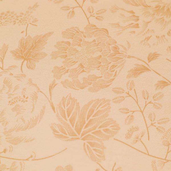 Stretch Baumwollstoff Blumen & Blätter- apricot