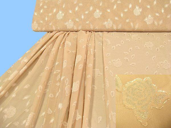 Chiffon mit eingewebtem Blumenmuster uni - beige
