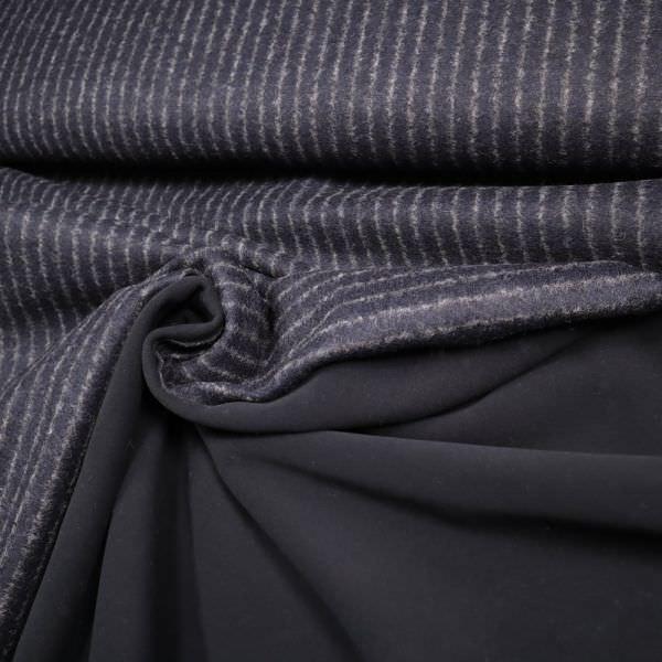 Doubleface Mantelstoff mit Fleeceseite Streifen - nachtblau/grau