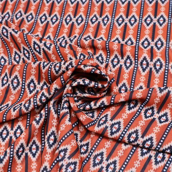 Chiffon mit Retro Muster - terrakotta/nachtblau/beige/weiss