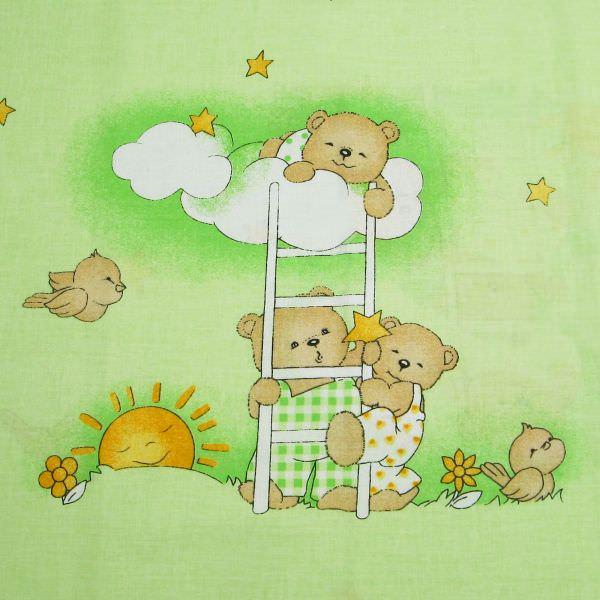 Kinderstoff Baumwollstoff Bärchen Mond & Sterne - hellgrün/grün/beige/gelb Öko-Tex Standard 100