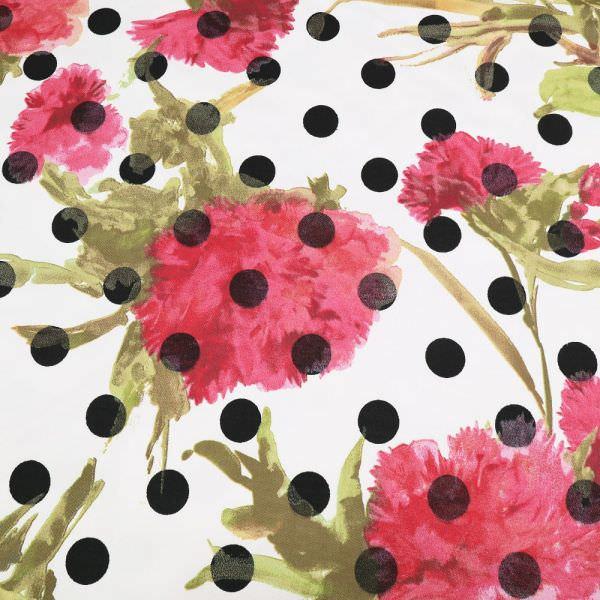 Baumwoll- Twill Blumen & Punkte - wollweiss/schwarz/himbeere/kiwi