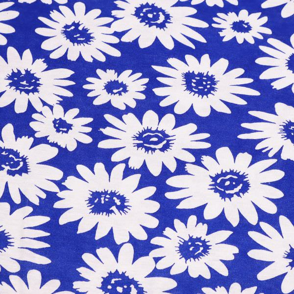 Viskosejersey mit Blumen - blau/weiss