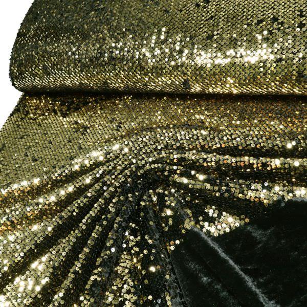 Pailletten- Samt Glamour - schwarz/gold