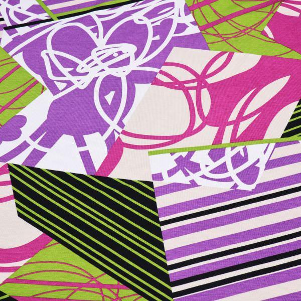 Viskosejersey Blumen & Streifen - beige/violett/kiwi/fuchsia