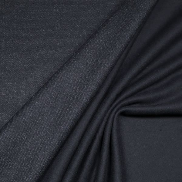 Wollstoff-Mix Doubleface meliert & uni - nachtblau/schwarz/wollweiss