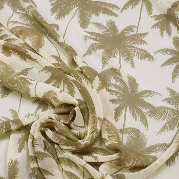 Chiffon mit Palmen - beige/taupe