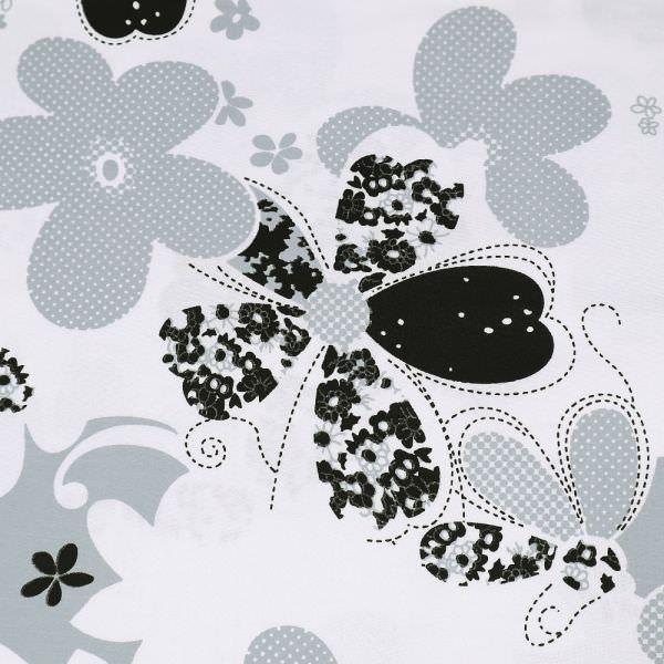 Baumwollstoff mit Blumen-Motiv -weiss/hellgrau/schwarz