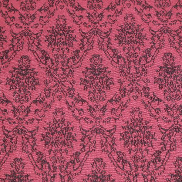 Stretch Baumwoll- Jacquard mit Ornamenten - bordeaux/brombeere