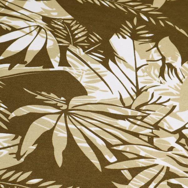 Viskosejersey mit Blätter - braun/hellbraun/creme (Reststück - 2,5m) Extra breit !