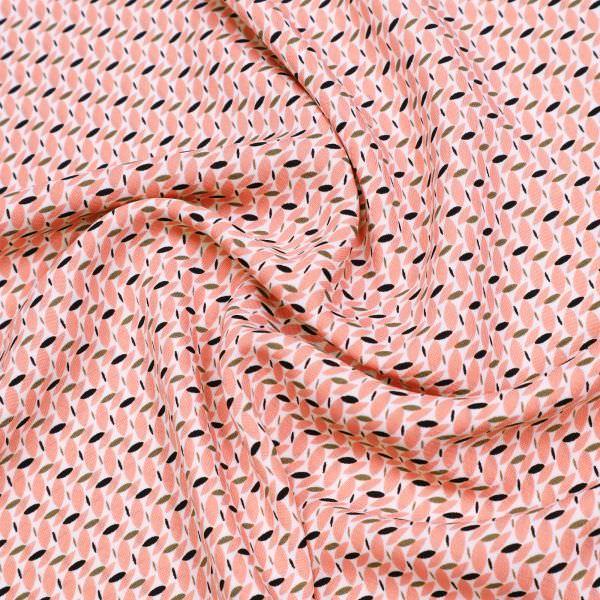 Blusen- und Kleiderstoff Retro - weiss/rosé/olivgrün/schwarz