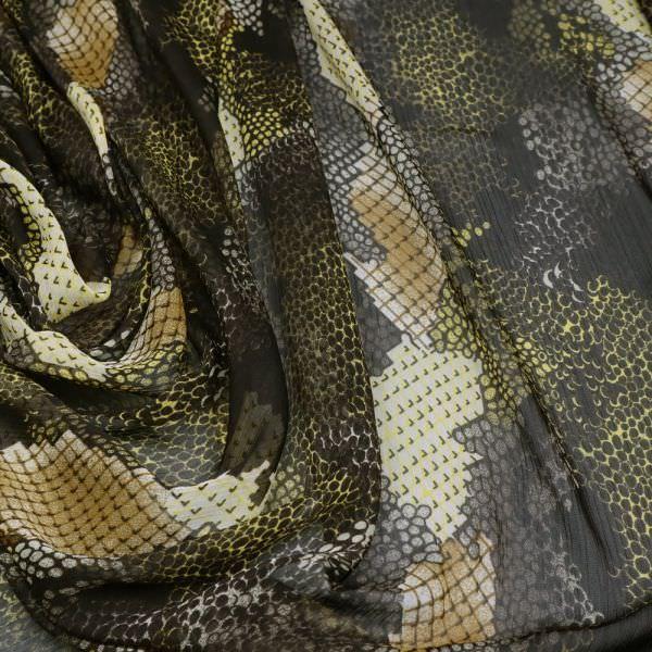 Crêpe Chiffon mit Schlangenmuster - dunkelbraun/wollweiss/gelb/schwarz