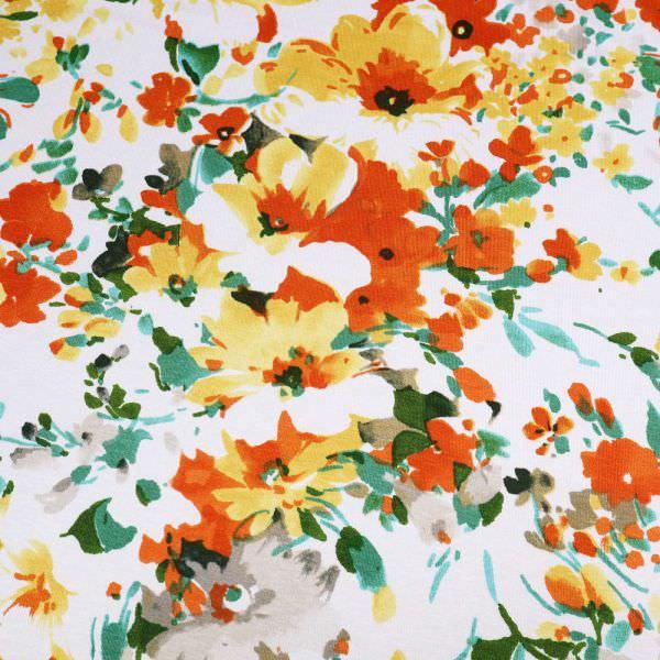 Viskosejersey mit Blumen - wollweiss/gelb/orange