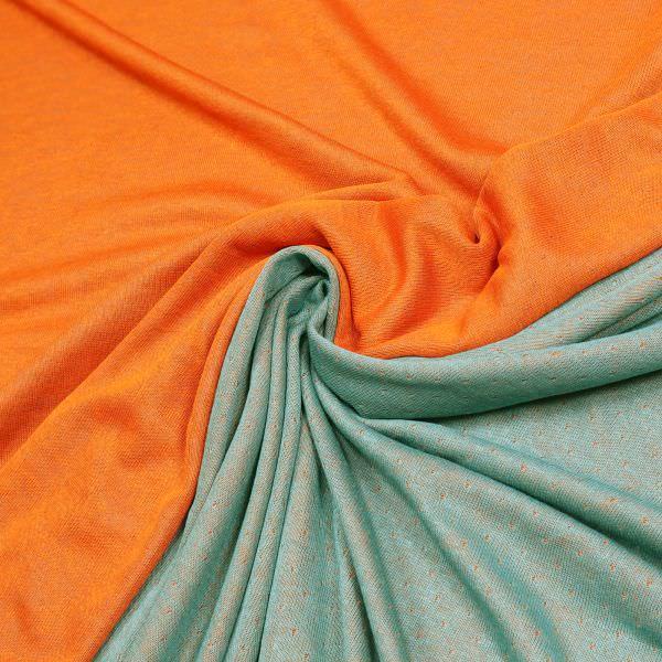 Doubleface Viskosejersey uni - orange/türkis