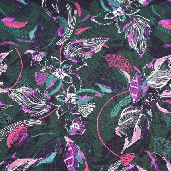 Baumwolle-Modal Jersey Fantasie Blumen - dunkelgrün/viollett/fuchsia Extra breit !