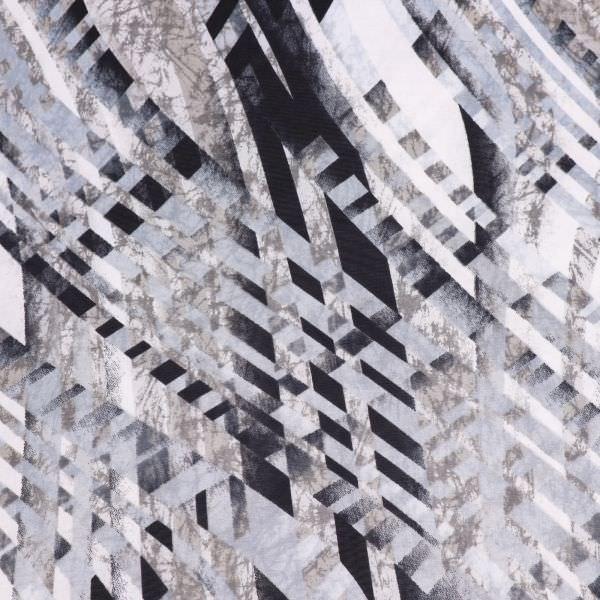 Slinky-Jersey Linien & Marmor-Motiv - weiss/grau/anthrazit