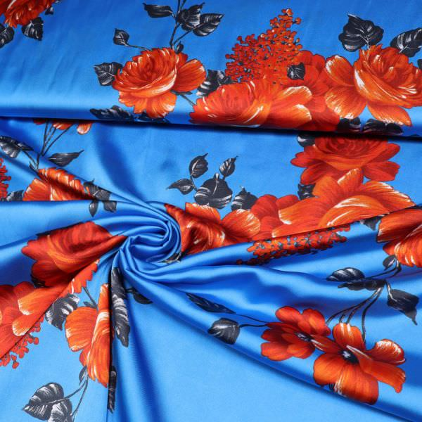 Satin rote Rosen - royalblau/rot/terrakotta/anthrazit